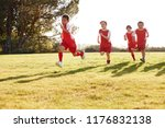 four young boys in football... | Shutterstock . vector #1176832138