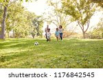 family playing soccer in park... | Shutterstock . vector #1176842545