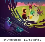 vr headset concept. boy and cat ... | Shutterstock .eps vector #1176848452