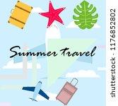 summer travel suitcase aircraft ... | Shutterstock .eps vector #1176852802
