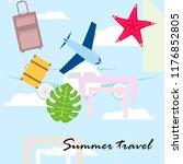summer travel suitcase aircraft ... | Shutterstock .eps vector #1176852805