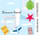 summer travel suitcase aircraft ... | Shutterstock .eps vector #1176852832