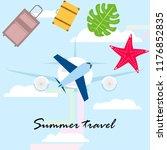 summer travel suitcase aircraft ... | Shutterstock .eps vector #1176852835