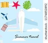 summer travel suitcase aircraft ... | Shutterstock .eps vector #1176852892