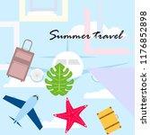 summer travel suitcase aircraft ... | Shutterstock .eps vector #1176852898