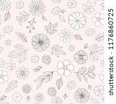 vector floral pattern in doodle ... | Shutterstock .eps vector #1176860725