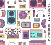 seamless pattern with retro... | Shutterstock .eps vector #1176860758