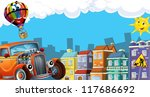 Cartoon city look with hotrod - illustration for the children - stock photo