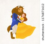 beauty and beast dancing waltz. ... | Shutterstock .eps vector #1176871612