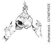vector illustration. skull with ... | Shutterstock .eps vector #1176874525