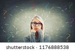 puzzled and bored woman wearing ... | Shutterstock . vector #1176888538