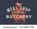 poster for butchery  meat shop. ... | Shutterstock .eps vector #1176892798