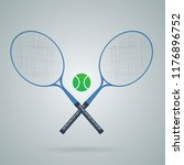 crossed racket and tennis ball. ... | Shutterstock .eps vector #1176896752