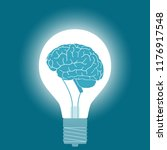 light bulb with brain in the... | Shutterstock .eps vector #1176917548