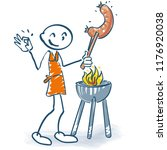stick figure with grill and... | Shutterstock .eps vector #1176920038