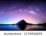 night landscape mountain and... | Shutterstock . vector #1176926035