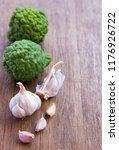 top view of garlic and bergamot ... | Shutterstock . vector #1176926722