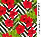 hibiscus flower vector seamless ... | Shutterstock .eps vector #1176927952