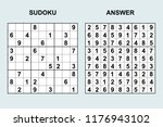 vector sudoku with answer 171.... | Shutterstock .eps vector #1176943102