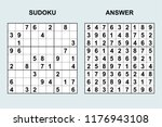 vector sudoku with answer 172.... | Shutterstock .eps vector #1176943108