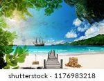 3d wallpaper design with pirate ... | Shutterstock . vector #1176983218