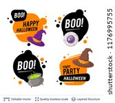 halloween set of badges with... | Shutterstock .eps vector #1176995755