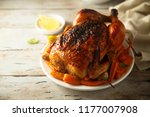 roast chicken with maple syrup  ... | Shutterstock . vector #1177007908