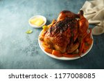 roast chicken with maple syrup  ... | Shutterstock . vector #1177008085