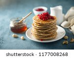 homemade fluffy pancakes with... | Shutterstock . vector #1177008268