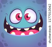 excited cartoon monster face.... | Shutterstock .eps vector #1177013062