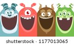 big set of cartoon monsters for ... | Shutterstock .eps vector #1177013065