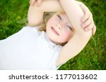 cute little girl having fun on... | Shutterstock . vector #1177013602