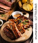 barbecue pork rib with spices... | Shutterstock . vector #1177015465