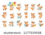 cute little foxes showing... | Shutterstock .eps vector #1177019038