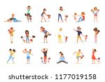 set of tired parents with... | Shutterstock .eps vector #1177019158