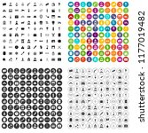 100 movie icons set in 4... | Shutterstock . vector #1177019482