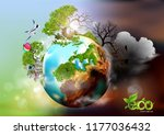 ecology concept with green city ...   Shutterstock .eps vector #1177036432