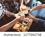 friends clinking glasses with... | Shutterstock . vector #1177042738