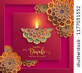 happy diwali festival card with ... | Shutterstock .eps vector #1177051552