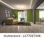 interior of the living room. 3d ... | Shutterstock . vector #1177057348