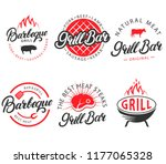 vector set of grill bar and bbq ... | Shutterstock .eps vector #1177065328