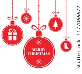 merry christmas balls on blue...