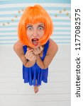 lady red or ginger wig posing... | Shutterstock . vector #1177082575