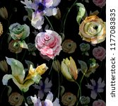 seamless pattern with flowers ... | Shutterstock . vector #1177083835
