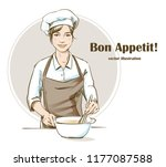 smiling and happy female chef.... | Shutterstock .eps vector #1177087588