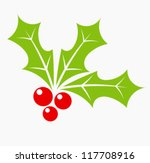 holly berry   christmas symbol | Shutterstock .eps vector #117708916