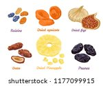 set of sweet dry fruit snacks.... | Shutterstock .eps vector #1177099915