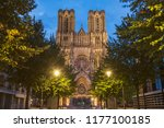 cathedral of our lady of reims. ... | Shutterstock . vector #1177100185