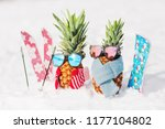 couple of attractive pineapples ... | Shutterstock . vector #1177104802