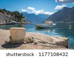 concrete bollard with ropes... | Shutterstock . vector #1177108432